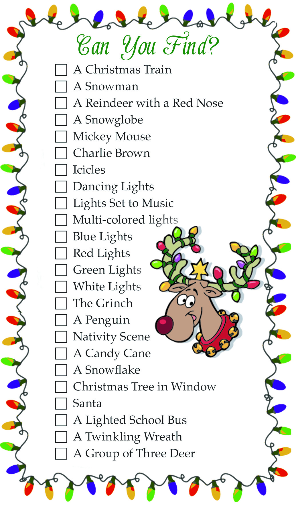Christmas Lights Scavenger Hunt List | Elaine Harper Real Estate
